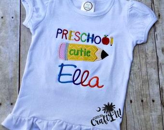 Girls First Day of Preschool, Girls Preschool Shirt, Toddlers Preschool Shirt, Preschool Cutie, Personalized, Embroidered, White Ruffle Tee