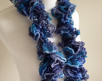 Hand Knit Ruffle Spiral Scarf in Blues and Aqua