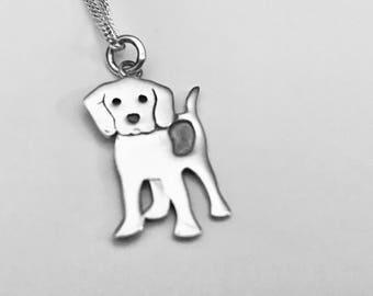 Beagle Necklace, Best Friend Necklace, Pet Necklace, Dog Pendant, Beagle Pendant. Beagle Charm, Sterling Silver Pendant
