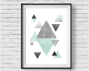 Scandinavian Print Mint Digital Wall Art Triangle Poster Mint Geometric Art Watercolor Print Nursery Art Mint & Gray Home Decor Abstract Art