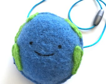 Earth Necklace - Recycled Wool Sweater Plush Toy