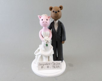Custom Handmade Pig & Bear Wedding Cake Topper