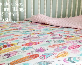 Baby Girl Bedding, Colorful Fitted Crib Sheet or Changing Pad Cover