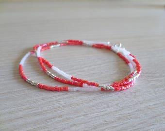 Necklace fine silver, white and vermilion color iridescent
