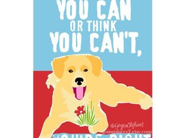 Classroom Art Childrens Wall Art Golden Retriever Puppy Motivational for Children matted