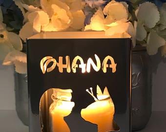 OHANA metal candleholder- Lantern, Centerpiece, Home deco, utensil holder