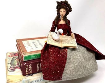 Storyteller cloth art doll, Elizabethan costume, OOAK, collectible, mother goose book, poseable doll, nursery decor, wire armature