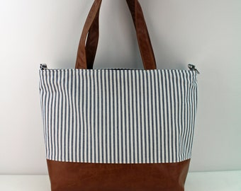 Extra Large Lulu Tote with Pinstripes and PU Leather -READY to SHIP  Beach Dance Travel Bag 7 pockets