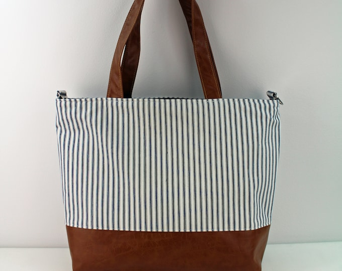 Extra Large Lulu Tote with Pinstripes and PU Leather -READY to SHIP