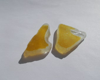 yellow - honey clear sea glass pieces - yellow beach glass - chipped for arts and crafts