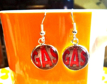 Gas station sign cabochon earrings- 16mm
