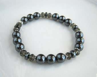 Crystal and Hematite Bracelet Gunmetal Stacking Bracelet Hematite Stretch Bracelet