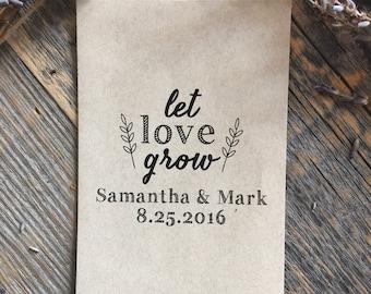 75 Customized Eco-Friendly Let Love Grow Seed Favor Kraft Envelopes