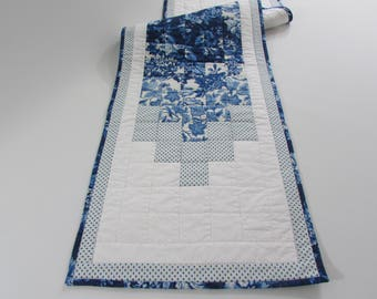Quilted Table Runner in classic blue and white florals adds lovely traditional colors to your home