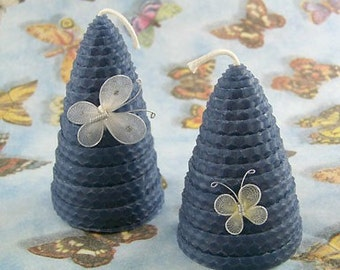 Wedding Candles Something Blue Beeswax Candle Skep Pair with Butterflies Bridal Shower Gift