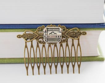 Typewriter Hair Clip, Writer Gift, Writer Hair Clip, Typewriter Hair Comb, Typewriter Hair Accessories