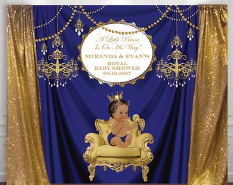 gold and royal blue prince, crown, baptism, christening, birthday, baby shower backdrop, sign poster, banner, party, decor, king, 8*8 feet
