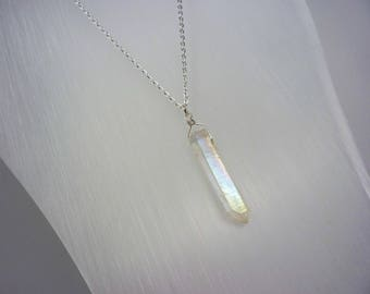 Angel Aura Crystal Necklace - Natural Healing Quartz - Angel Clear Crystal - Long Layering Necklace - Meditation - Choice of Chain & Length