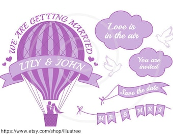 Hot air balloon wedding invitation, save the date, bride, groom, digital clip art, scrapbooking, commercial use, EPS, SVG, instant download