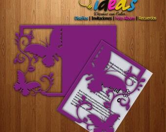 Wedding Invitation card, invitation XV años, wedding invitation, laser cut, files (SVG, DFX, AI, Corel), Laser cut, Silhouette cameo