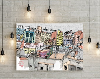 Barcelona roof tops, Spain. Colourful terraces, washing lines, hand drawn illustration, art giclee print