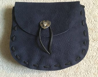 Soft Navy Blue Leather Medieval Style Pouch