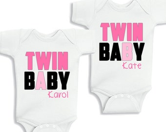 Twin Baby A and Twin Baby B Baby Girls Set of 2 kids Shirt or Baby Bodysuit