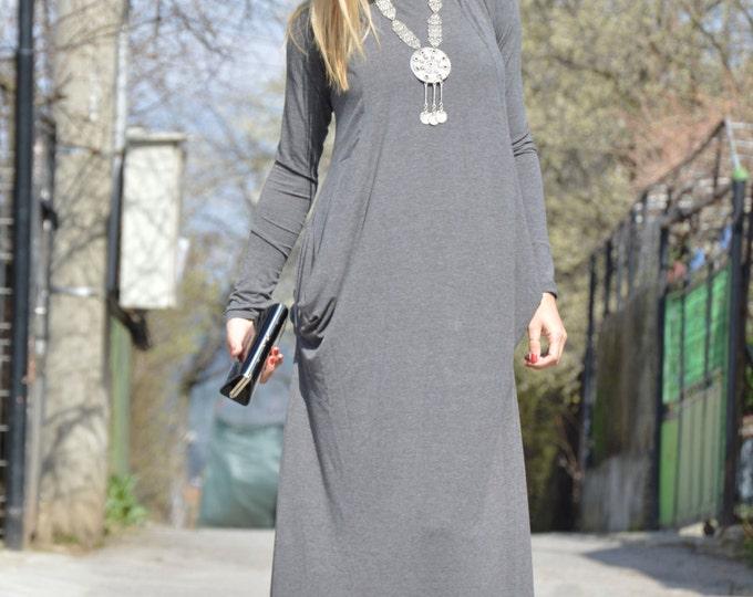 Maxi Grey Dress, Plus Size Dress, Elegant Dress, Comfortable Dress, Extravagant Dress, Handmade Dress by SSDfashion