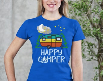 Happy Camper - RV Family Camping In The Mountains After Dark Short-Sleeve T-Shirt