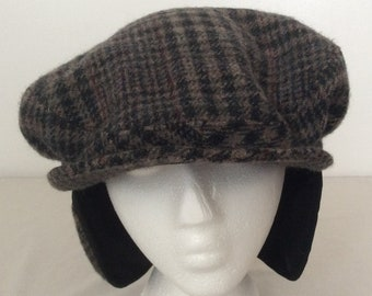 Pendleton Vintage Tweed Wool Winter Ear Flap Cabbie Newsboy Hat Size XL