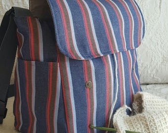 Blue and red Stripes, messenger bag, knitting, Lots of Pockets, knitting supplies, crochet tote, knit organizer, snag free vinyl interior