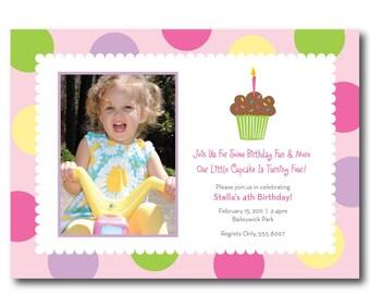 Cupcake Photo Birthday Invitation, Digital, You Print