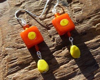 Orange and yellow glass beads earrings