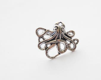 Octopus Ring, Steampunk Octopus Ring, Silver Octopus Ring, Squid Rings, Beach Jewelry / Silver Squid Rings / Nautical Stocking Stuffer