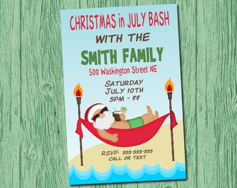 Christmas in July Party Invitation Digital File Print at Home