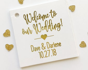 Welcome to Our Wedding Foiled Cardstock Wedding Tags, Wedding Favor Tags, Favor Tags, Party Favor Tags (SQ-219-F)