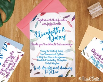 Floating Feathers Wedding Invitations, Save the Date, RSVP, Party, boho, watercolour