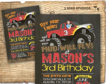MONSTER Truck Invitation - Monster Truck Party - RED Monster Truck Birthday - Chalkboard DIY printable invitation for boys birthday party
