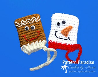 Crochet Pattern, Christmas Gift Card or Money Holder, Frosty and Ginger, Snowman, Gingerbread Man PDF17-354