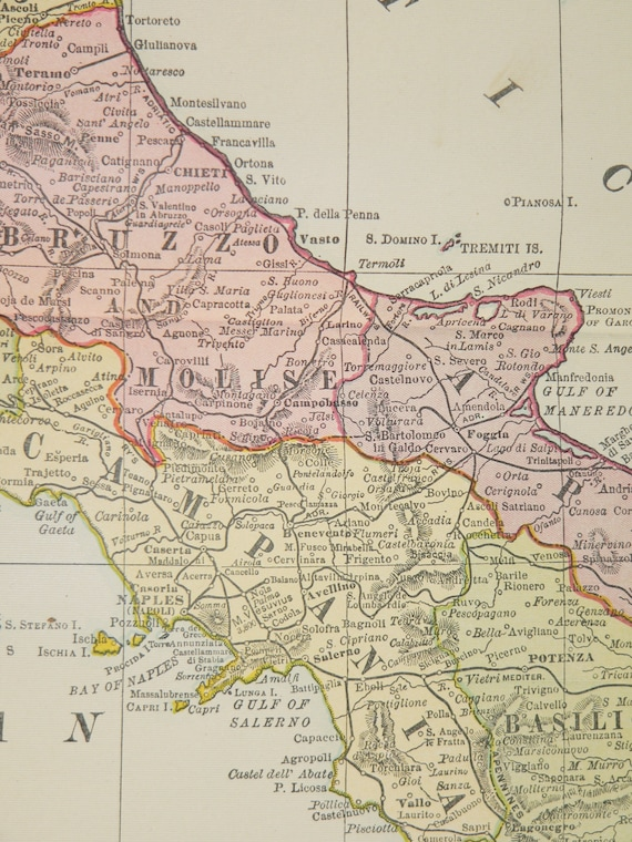 Large Antique Map of Italy 1912 Italy Map Vintage Italy Gift