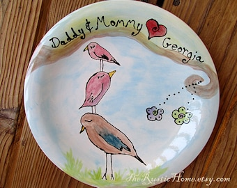 Custom family tree bird plate kiln fired pottery gift
