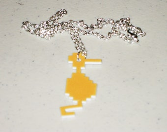 Dragon from Atari Adventure - 8 bit - Keychain, Necklace, Earrings, Charm, Stickers, Tattoos, Embroidered Patch, Magnets