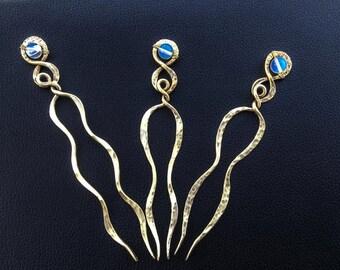 Moonstone Hair fork , Boho hair pin ,  unique hair pin,  celtic knot hair pin, Shawl pin , hair prong
