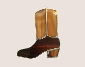 Handmade Stained Glass Cowboy Boot Suncatcher