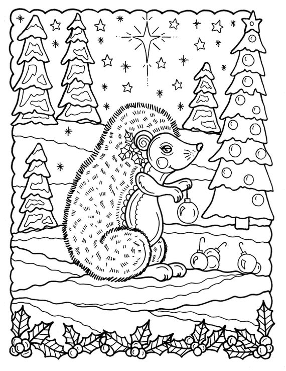 fun coloring christmas pages | 5 Pages of Christmas Coloring pages fun and whimsical