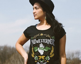 Leave No Trace Midwesterner Triblend Black Ladies Relaxed Fit T-Shirt. Celebrates Midwest, workers, outdoors, hops. Women's Shirt.
