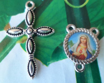 Rosary cross + heart of Mary Rosary Center Kit
