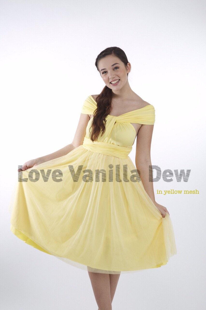 Bridesmaid dress infinity dress lemon yellow tulle knee length zoom ombrellifo Images