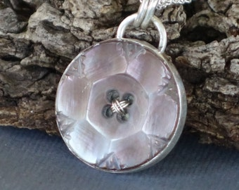 Antique Mother of Pearl Button Pendant, Button Pendant, Button Necklace, Flower Pendant