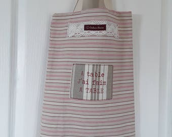 Bread bag, handbag, baguette, white, pink, beige striped cotton canvas fabric and Burlap, lace, shabby